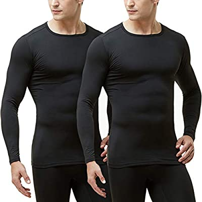 TSLA Men's Microfiber Fleece Lined Thermal Winter Top, 2pack(mht102) - Black, Large