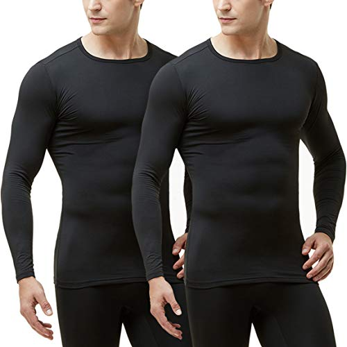 TSLA Men's Long Sleeve Thermal Underwear Tops, Microfiber Soft Fleece Lined Shirt, Winter Cold Weather Base Layer Top, 2pack(mht102) - Black, Small
