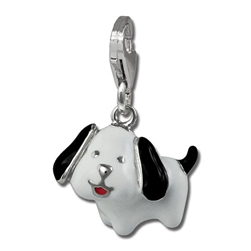 SilberDream Charm-Perro de peluche, color blanco, 925, diseño de colgante/pulsera FC886W