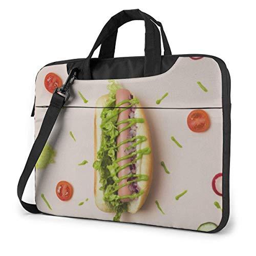 15.6 inch Laptop Shoulder Briefcase Messenger Love Green Vegetable Veggie Hot Dog Tablet Bussiness Carrying Handbag Case Sleeve