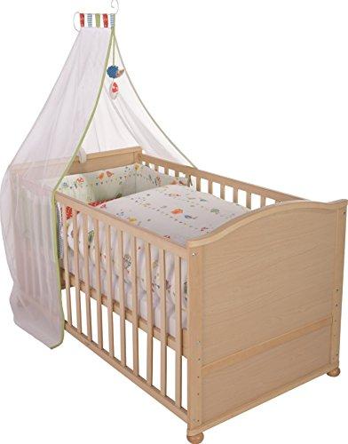 roba Lit bébé avec textiles 'Woodland Marriage', lit bébé en bois naturel, avec linge de lit, ciel du lit, tour de lit et matelas, lit bébé combiné 70x140cm, transformable en lit junior.