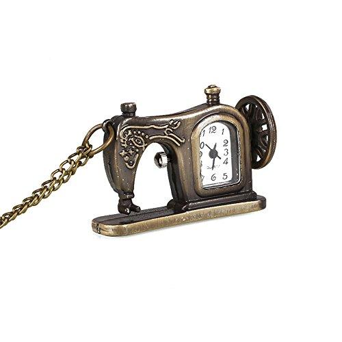 Rosepoem Nähmaschine Taschenuhr Damen Vintage Style Taschenuhr Taschenuhr mit Kette Anhänger Halskette Taschenuhr
