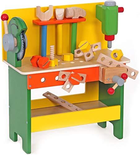 Holzspielzeug Peitz Kinderwerkbank 19-teilig | für den Kleinen Handwerker Slh 3376 | schöne und solide Werkbank | mit Schraubstock Hammer Säge und weiterem Zubehör aus Holz |
