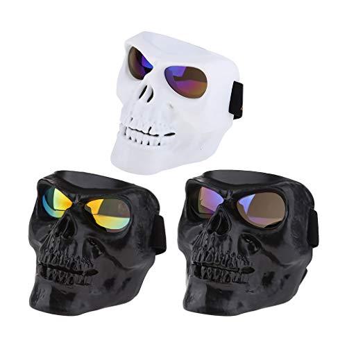 IPOTCH Gafas de Motocicleta Gafas de Motocicleta Vintage Antirrayas Lente a Prueba de Viento Cráneo Gafas a Prueba de Viento 3x