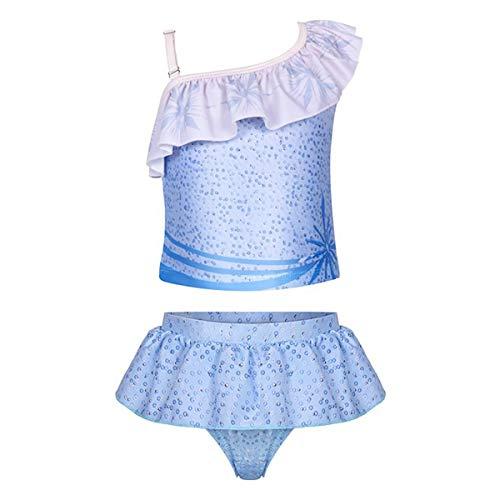 iiniim Mädchen Tankini Bikini Set Zweiteiler Bikini Tops mit Badehose EIS Prinzessin Bademode Schwimmanzug Hell Blau 98-104/3-4 Jahre
