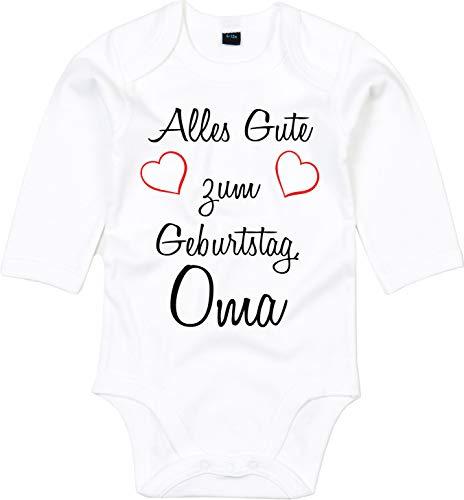 Mister Merchandise Baby Body Alles gute zum Geburtstag, Oma Glückwunsch Weiß - Langarm, 6-12
