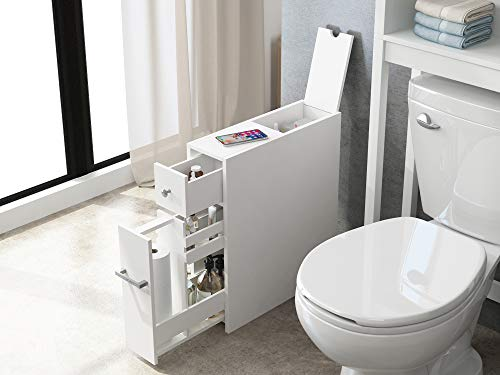 STOCK UP – Spirich Home Slim Bathroom Storage Cabinet, Free Standing Toilet Paper Holder, Bathroom Cabinet Slide Out Drawer Storage,White.