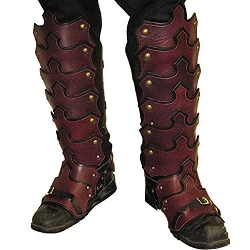LXQLLJJD Armadura De Pierna Segmentada Medieval con Hebilla De Cinturn, Cubierta De Botas Impermeable De Cuero PU Retro Ajustable, Cubierta De Zapato De Pierna De Caballero,Rojo
