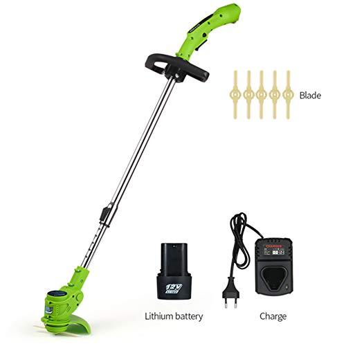 Grasmaaier, draadloze grastrimmer, elektrische grasmaaier voor huishoudelijk gebruik, klein met telescopisch handvat, snijdiameter van 14 cm, oplaadbare batterij 12V
