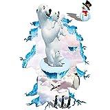 Oso polar Pingüino Habitación de los niños Calcomanía 3d Etiqueta del piso Decoración del hogar Paisaje Ventana falsa Pvc Etiqueta de la pared Autoadhesivo extraíble 88 * 57cm