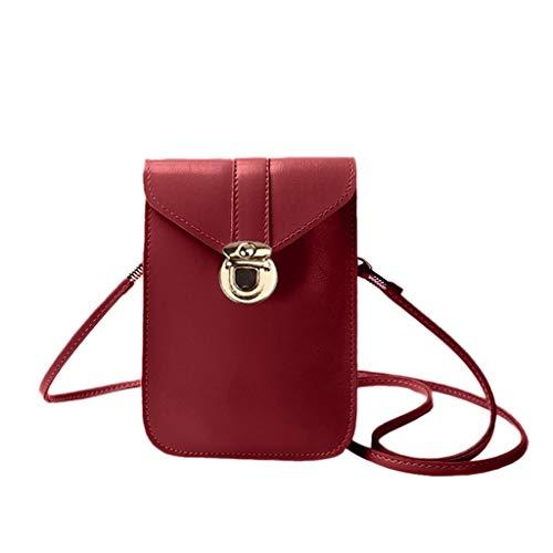 Mini-Handytasche, mit rückseitiger klarer Touchscreen PU Ledertasche, Berührbare transparente Handytasche, Frauen Brieftasche Cross Body Tasche Leder Geldbörse Handy Mini-Tasche (rot)