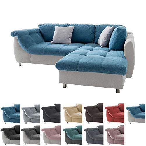lifestyle4living Ecksofa in Blau und Hellgrau mit Schlaffunktion | Eckcouch Eckgarnitur Polsterecke Sofa | Moderne Wohnlandschaft mit Rückenkissen und Zierkissen