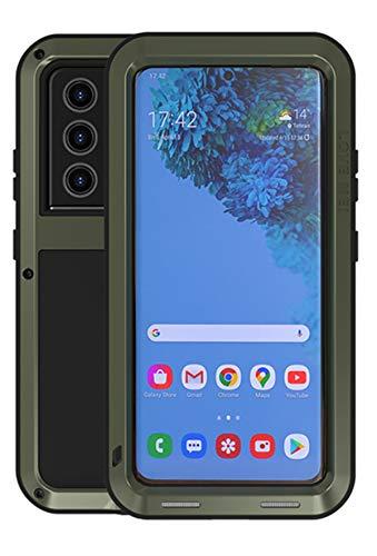 YGRY Love Mei Funda para Samsung Galaxy S21 Ultra, Al Aire Libre Pesado Antigolpes A Prueba de Polvo a Prueba Impermeable híbrida de Armadura de Metal Estuche Protectora Carcasa (Verde Oscuro)