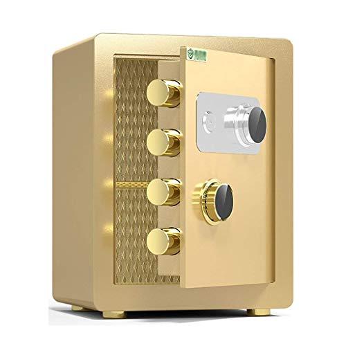 Caja fuerte de seguridad, caja fuerte pequeña para el hogar, gabinete de seguridad de acero ignífugo y antirrobo, llave de bloqueo de contraseña mecánica Caja de seguridad de doble protección, 40x36x