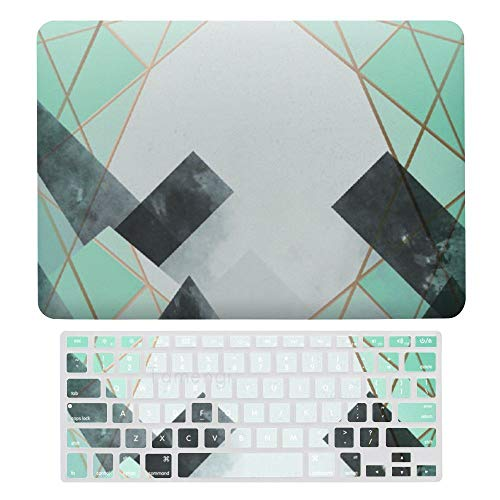 Laptop Screen Case for MacBook Air 13 & New Pro 13 Touch, Gold Line Marble Keyboard Cover Screen Protector Shell Set