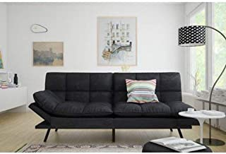 Mainstay.. Memory Foam Futon, Black Suede, Fabric, Wood, Metal + Free Clean Fabric Cloth..