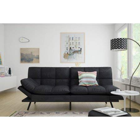 Mainstay.. Memory Foam Futon, Black Suede, Fabric, Wood, Metal + Free Clean Fabric Cloth (Black Suede)