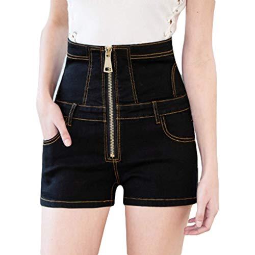 Pantaloncini di Jeans a Vita Alta da Donna Patchwork Cuciture Slim Fit Cerniera Decorazione Fashion Trend Jeans Casual Estivi Large