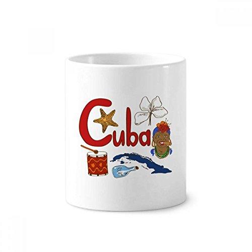 Kuba National Symbol Landmark Muster Keramik Zahnbürste Stifthalter Becher weiß Tasse 350ml Geschenk