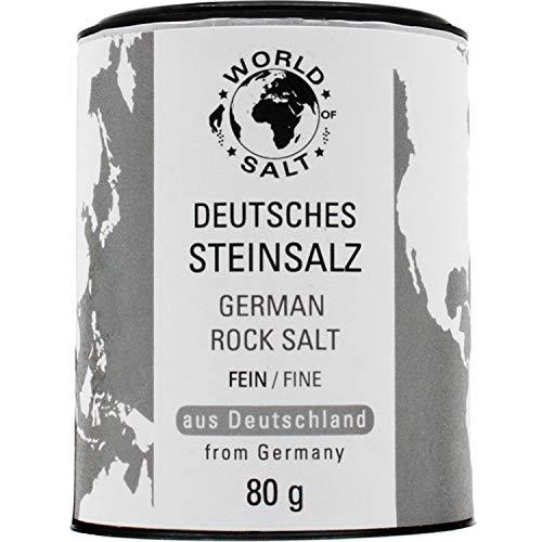 Pepperworld Deutsches Steinsalz, feines Speise-Salz aus Deutschland, naturbelassene Salz-Sorte in feiner Körnung, mit natürlichem Jod, 80 g