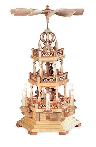 Pyramide de Noël scène de la forêt, 2 étages, hauteur 50 cm, illuminée et entraînée électriques (230V, 50Hz), naturel, Erzgebirge originale de Muller Seiffen