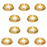 Joywayus 1/2' Female Thread Brass Pipe Fitting Flange Hex Lock Nut For Plumbing and Nut Spacer Pipe Hose (Pack Of 10)