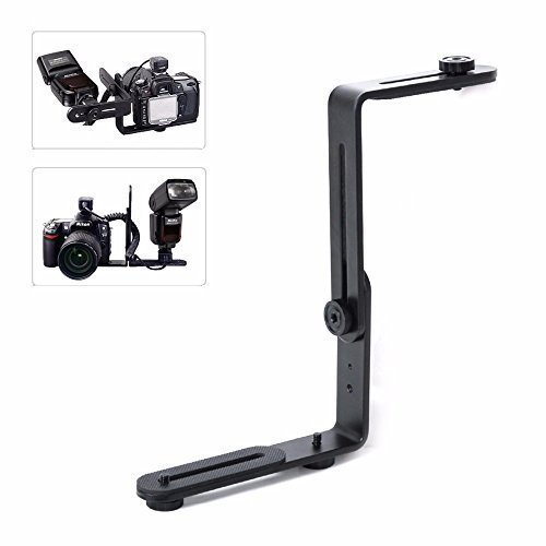 EXMAX Metal Aluminum Alloy L-shape Camera Flash Bracket Flashlight Camera Holder Mount Quick Flip DSLR SLR