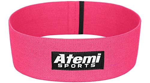 Atemi Sports Widerstand Glute Band/Hip Band | Fitnessband für Gesäßmuskeln mit Workout Guide | Widerstandsband ideal für Bein- und Po-Training (Pink, S/M)
