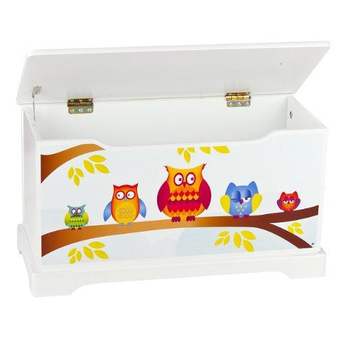 Leomark Hölzern Kindertruhenbank – Eulen – Kinderbank, Behälter für Spielzeug, Truhe für Kinderzimmer, Kindermöbel, Sitzbank mit Stauraum für Spielsachen, Höhe: 32 cm - 2