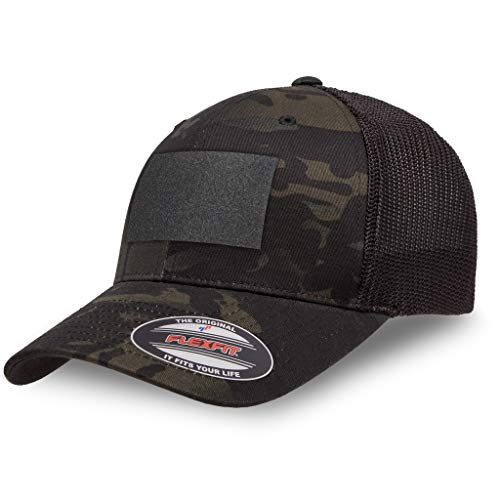 The Fighting Forces USA American Flag Flexfit Cap- Mesh Ball Perfect for Any Activities Outdoor -Black Multi Cam(One Size)