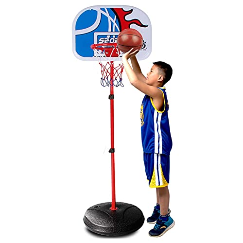 Aro de Baloncesto para Niños, Canastas de Baloncesto Altura Ajustable con Baloncesto y Inflador, Juguetes Jardin Exterior Casa Infantil