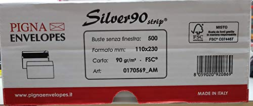Silver Strip B0170569 500 Buste Commerciale, F.To 110 x 230 in Carta Uso Mano Fsc 90 g