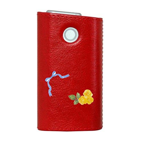 glo グロー グロウ 専用 レザーケース レザーカバー タバコ ケース カバー 合皮 ハードケース カバー 収納 デザイン 革 皮 RED レッド フラワー 花 フラワー イエロー 黄色 水彩 リボン 008198
