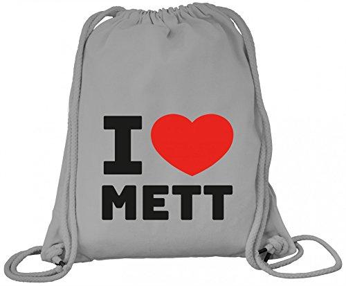 ShirtStreet Fleischliebhaber Fleischer Premium Bio Baumwoll Turnbeutel Rucksack Stanley Stella I Love Mett, Größe: onesize,Heather Grey