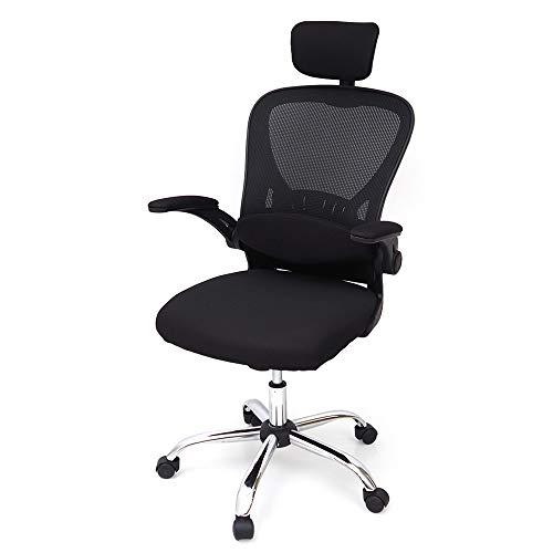 créer(クレエ) オフィスチェア 人間工学 メッシュ 椅子 デスクチェア 長時間作業も楽々 ロッキングチェア こだわり座面 肘置き 跳ね上げ式 ヘッドレスト/ランバーサポート付き (ブラック, フルセット)