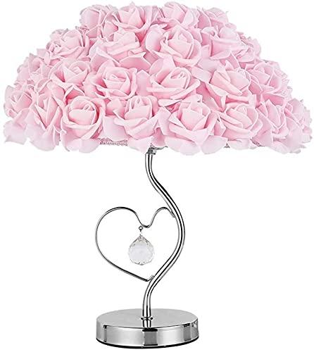 Mu Mianhua Lámpara de Mesa Cálido romántico personalidad creativa rosa rosa lámpara espejo dormitorio lámpara lámpara de mesa de cristal base de metal mesita de noche lámpara de espejo lámpara de mesa