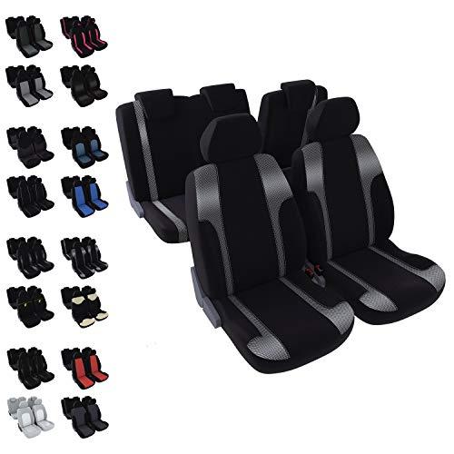 DBS - Housses de sièges - Voiture/Auto - 5 sièges - Noir + Metallisé - Universelles - Anti-dérapant - Lavable