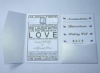 FidgetKute Pearl White Pocketfold Wedding Invitations. DIY Pocket fold Engagement invites 50(Pocket+Plain White Envelope)