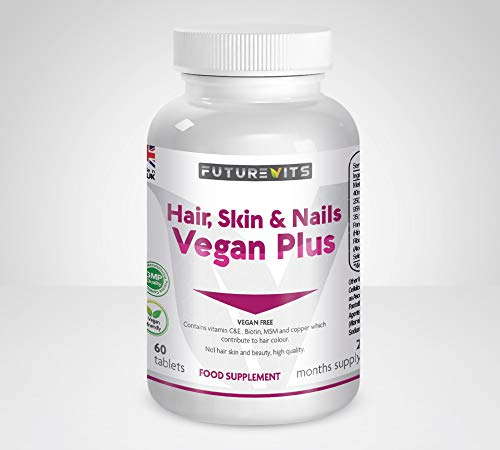 Hair Skin and Nails Vitamins for Women Vegan Plus Friendly Contains Biotin, Vitamin C, Selenium, and Hyaluronic Acid and Many More Powerful Hair Care Products. Made in UK Futurevits.