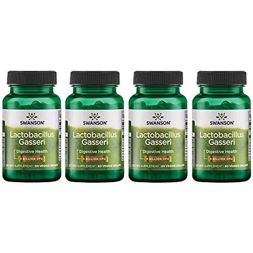 Swanson Lactobacillus Gasseri - Probiotic Supplement Supporting Digestive Health with 3 Billion CFU - Design-Release Satiety & Fat Metabolism Support - (60 Veggie Capsules) 4 Bottles