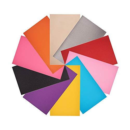 NBEADS 20 Hojas de Piel Sintética de Color Sólido, Hacer Carteras, Bolsos, Costura, Manualidades, Proyectos de Bricolaje, Colores Mezclados, 34 X 20 Cm