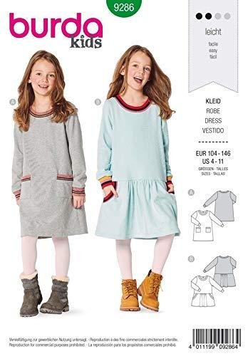 Burda 9286 Schnittmuster Kleid (Kids, Gr. 104-146) Level 1 leicht
