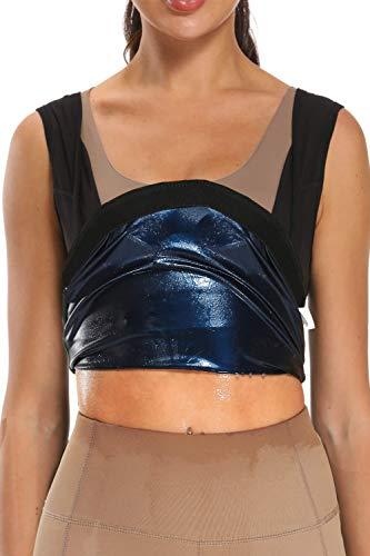 DEYACE Women Sweat Tank Top Sauna Vest Compression Outfit Waist Trainer Fat Trimmer for Home Outdoor Belly Stomach Back - L: Waist 27~29'' Hip 31~33'' Black