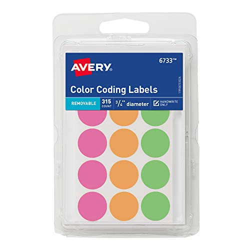 Avery Round Color Coding Labels, Pack of 315 Now $1.12 (Was $3.89)
