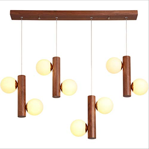 Lámpara colgante LED, estilo chino, frijol mágico, accesorio de iluminación G9, cabezal de lámpara, luz tricolor, colgante, luces de araña sólidas creativas, madera, nogal, 6 cabezas, 8 cabezas, panta