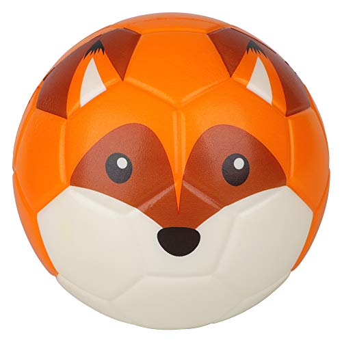 BORPEIN 6 Inches Mini Soccer,Cute Animal Design Soft Foam Ball For Kids Toddlers, Soft and Bouncy,Perfect Size For Kids Playing(fox)