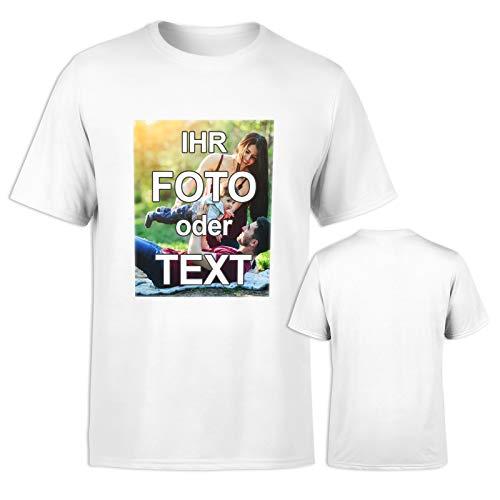 T-Shirt selbst gestalten * Weiß in L * Bedruckt mit eigenem Foto Text Logo Name * ringgesponnene Baumwolle * viele Farben und Größen
