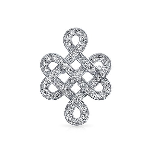 Bling Jewelry Eternal Celtic Love Knot Work Cubic Zirconia Pave CZ Wedding Brooch Pin for Women Rhodium Plated Brass 1.2 Inch