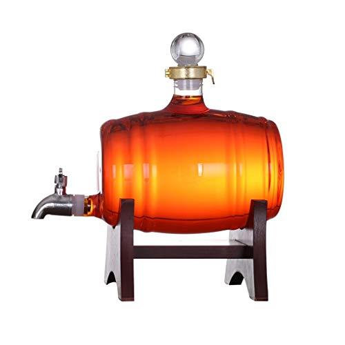 HHGO glas wijn vat 500ml, metalen tap, bar keuken partijen outdoor decoratie wijnfles, geschikt voor wijn champagne bier drank, inhoud 5kg