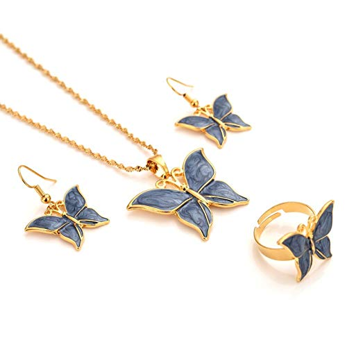 SALAN Dubai India 14k Gold GF Fine GF Collar Colgante Pendientes Pendientes Mujeres Mariposa Papua Nuevo Fiesta Joyería Conjuntos Negro Azul Verde Regalo